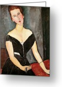 Van Painting Greeting Cards - Madame G van Muyden Greeting Card by Amedeo Modigliani