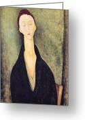 Amedeo (1884-1920) Greeting Cards - Madame Hanka Zborowska Greeting Card by Amedeo Modigliani