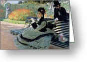 Park Benches Greeting Cards - Madame Monet on a Garden Bench Greeting Card by Claude Monet