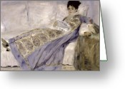 Pierre Auguste (1841-1919) Greeting Cards - Madame Monet on a Sofa Greeting Card by Pierre Auguste Renoir