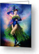 Peaches Greeting Cards - Madame Peacock Greeting Card by Karen Koski