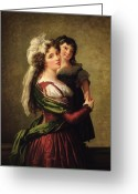 Kid Painting Greeting Cards - Madame Rousseau and her Daughter Greeting Card by Elisabeth Louise Vigee Lebrun