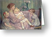 Sat Greeting Cards - Madame van de Velde and her Children Greeting Card by Theo van Rysselberghe