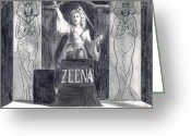 Carnie Greeting Cards - Madame Zeena Greeting Card by Mel Thompson