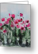 Plants Greeting Cards - Maddys Poppies Greeting Card by Anne Duke