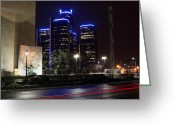Detroit Rock City Greeting Cards - Made In Detroit Michigan - Woodward and Jefferson At Night Greeting Card by Gordon Dean II