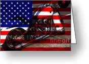 July 4 Greeting Cards - Made In The USA . Harley-Davidson . 7D12757 Greeting Card by Wingsdomain Art and Photography