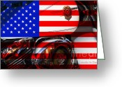 July 4 Greeting Cards - Made In The USA . Harley-Davidson . 7D12759 Greeting Card by Wingsdomain Art and Photography