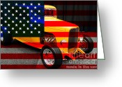 Usa Flag Greeting Cards - Made In The USA . 1932 Ford 5 Window Coupe Greeting Card by Wingsdomain Art and Photography