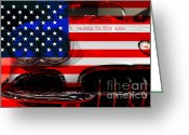 Cars Greeting Cards - Made In The USA . Chevy Corvette Greeting Card by Wingsdomain Art and Photography