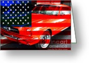 Transportation Greeting Cards - Made In The USA . Ford Mustang Greeting Card by Wingsdomain Art and Photography