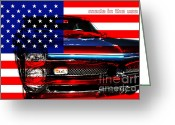 Usa Flag Greeting Cards - Made In The USA . Pontiac GTO Greeting Card by Wingsdomain Art and Photography
