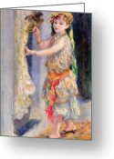Floor Painting Greeting Cards - Mademoiselle Fleury in Algerian Costume Greeting Card by Pierre Auguste Renoir