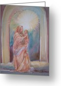 Christ Child Greeting Cards - Madona of the Rock Greeting Card by Sue Kemp