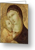 Baby Jesus Greeting Cards - Madonna and Child Greeting Card by Ansano di Pietro di Mencio