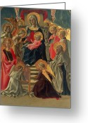 Baby Jesus Greeting Cards - Madonna and Child enthroned with Angels and Saints Greeting Card by Fra Filippo Lippi