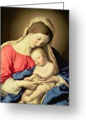 Xmas Greeting Cards - Madonna and Child Greeting Card by Il Sassoferrato