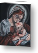 Zombie Pastels Greeting Cards - Madonna and Child Greeting Card by Joe Dragt