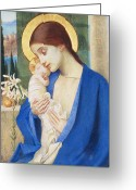 Flower Greeting Card Greeting Cards - Madonna and Child Greeting Card by Marianne Stokes