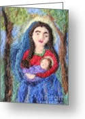Jesus  Tapestries - Textiles Greeting Cards - Madonna and Child Greeting Card by Nicole Besack