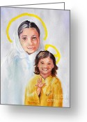 Christ Child Greeting Cards - Madonna and Child Greeting Card by Susan Lee Clark