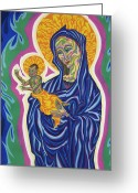 Christ Child Pastels Greeting Cards - Madonna And Christ Child Greeting Card by Robert  SORENSEN