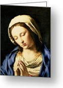 Virgin Maria Greeting Cards - Madonna at Prayer Greeting Card by Il Sassoferrato