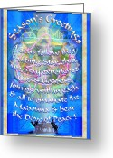 Chalice Greeting Cards - Madonna Dove Chalice-Synthesis and Logos with text Greeting Card by Christopher Pringer