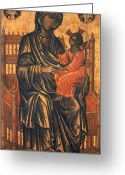 Byzantine Icon Greeting Cards - MADONNA ICON, 13th CENTURY Greeting Card by Granger