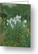Jardins Greeting Cards - Madonna Lilies in a Garden Greeting Card by Walter Crane