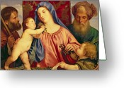 Saint Joseph Greeting Cards - Madonna of the Cherries with Joseph Greeting Card by Titian