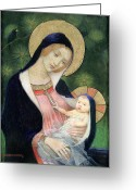 Family Love Greeting Cards - Madonna of the Fir Tree Greeting Card by Marianne Stokes