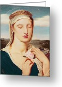 Holding Flower Greeting Cards - Madonna Greeting Card by Simeon Solomon