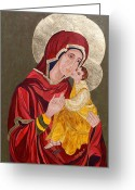 Iconography Painting Greeting Cards - Madonna with child Greeting Card by Claudia French