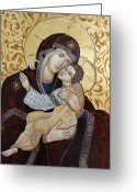 Byzantine Greeting Cards - Madonna with Child Greeting Card by Iconos Art