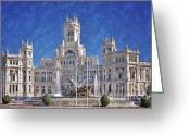 Hall Greeting Cards - Madrid City Hall Greeting Card by Joan Carroll