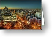 Dusk Greeting Cards - Madrid Cityscape Greeting Card by Photo by cuellar