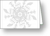 Mayan Art Greeting Cards - Maelstrom Greeting Card by Dean Caminiti