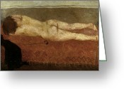 Mario Art Greeting Cards - Mafai: Nude On Sofa Greeting Card by Granger