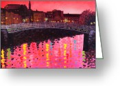 Tropical City Prints Greeting Cards - Magenta Evening Dublin Greeting Card by John  Nolan