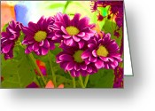 Staley Art Mixed Media Greeting Cards - Magenta Flowers Greeting Card by Chuck Staley