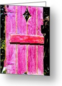 Leaf Sculpture Greeting Cards - Magenta Painted Door in Garden  Greeting Card by Asha Carolyn Young and Daniel Furon