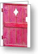 Mixed Media On Old Wooden Garden Gate Greeting Cards - Magenta Pink Painted Garden Door Greeting Card by Asha Carolyn Young