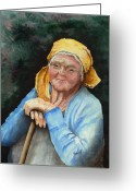 Elderly Painting Greeting Cards - Maggie Greeting Card by Sam Sidders