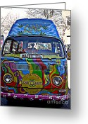 Sgt Peppers Greeting Cards - Magic Bus Greeting Card by Debara Splendorio