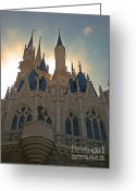 Fantasy Pyrography Greeting Cards - Magic Kingdom - Cinderella Castle Greeting Card by AK Photography