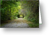 Bike Rider Greeting Cards - Magic Tunnel Greeting Card by Jeanne Quinn