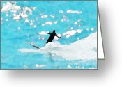 Surf Art La Jolla Digital Art Greeting Cards - Magic Wall in Blue Greeting Card by David Rearwin