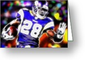 Running Back Greeting Cards - Magical Adrian Peterson   Greeting Card by Paul Van Scott
