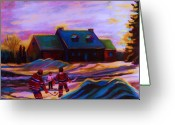 Carole Spandau Hockey Art Painting Greeting Cards - Magical Day For Hockey Greeting Card by Carole Spandau
